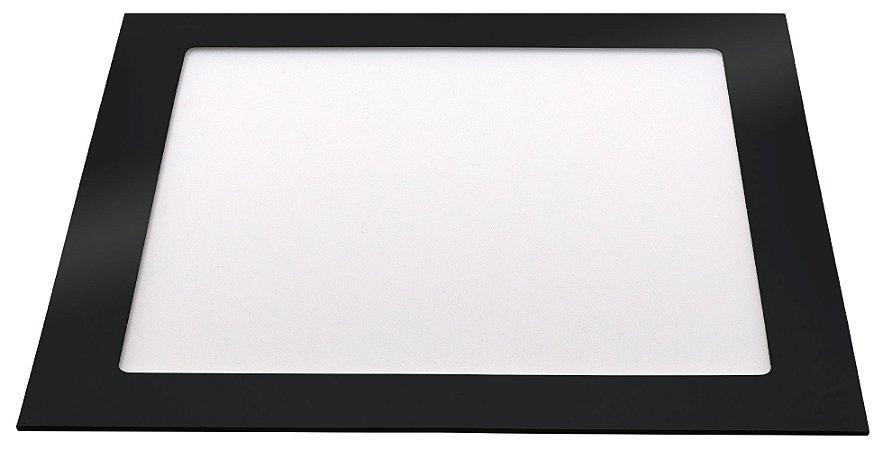 Painel Slim Led Embutir Quadrado Preto 18W 6500K Bivolt - Llum