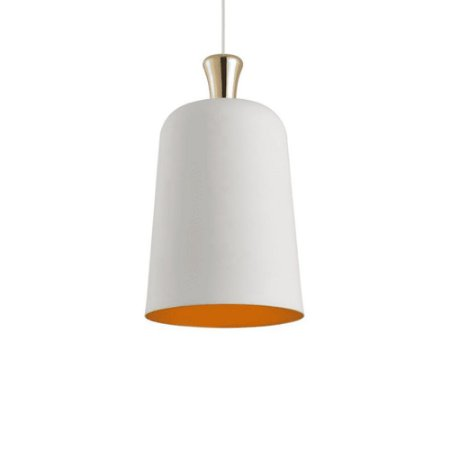 Pendente Cupula Bell Branco Fosco/Ouro 23cm - Avant