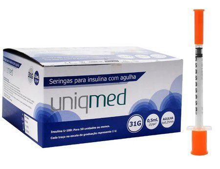 Seringa p/ insulina 0,5ml C/ Agulha 31G 6x0,25mm PCT 10UN