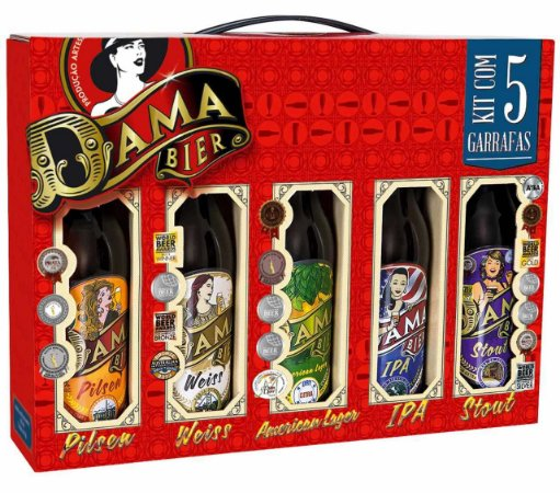 Kit 5 Cervejas Dama Beer 355ml – Lager, Pilsen, Weiss, Stout E IPA