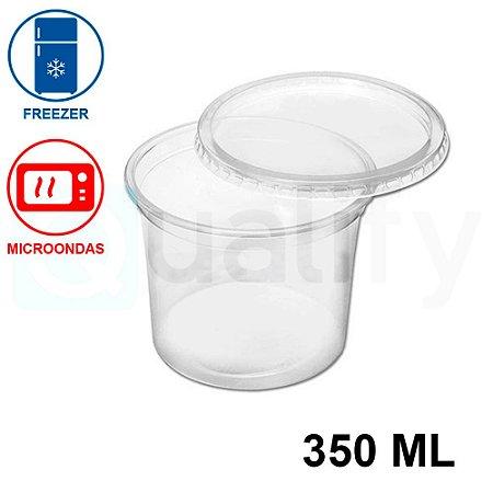 Pote Plástico Sobre tampa Transparente 350ml com 25 UN JBM