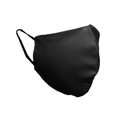 Mascara de tecido dupla reutilizável com elástico cor preta