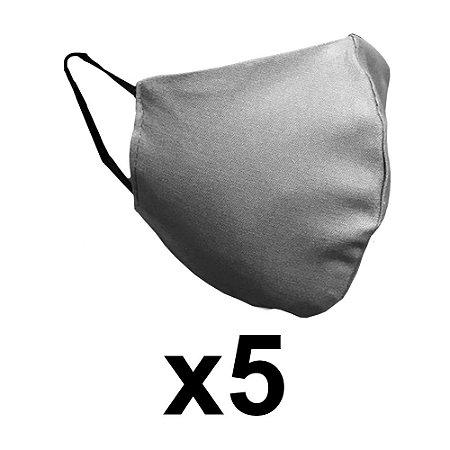 Mascara de tecido dupla cinza reutilizável com elástico 5 Un