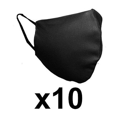 Mascara de tecido dupla preta reutilizável c/ elástico 10 Un