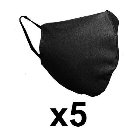 Mascara de tecido dupla preta reutilizável com elástico 5 Un