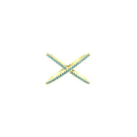 Anel X Folheado com Pedrinha Nano Turquesa