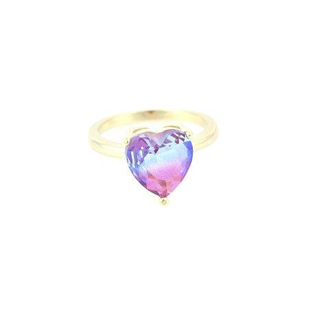 Anel Folheado Coração com Pedra Rainbow
