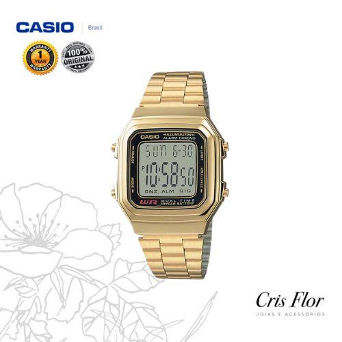 Relógio Casio Grande Retângulo Dourado A178WGA-1ADF