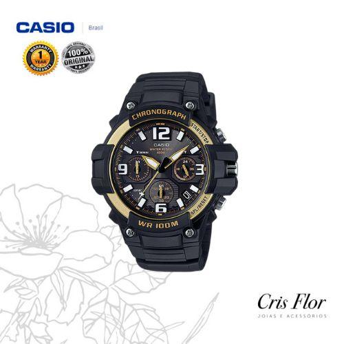 Relógio Casio Masculino Standard preto com Detalhes Dourado MCW-100H-9A2V