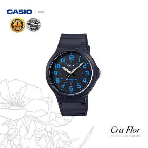 Relógio Casio Borracha Preto Numeral Azul MW-240-2BV