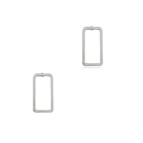 Brinco Ródio Branco Retangular Vazado