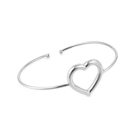 Pulseira Bracelete Ródio Branco Coração Vazado