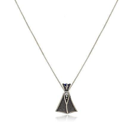 Colar Prata 925 Nossa Senhora com Coroa de Zircônia Azul