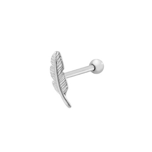 Brinco Prata 925 Piercing Pena