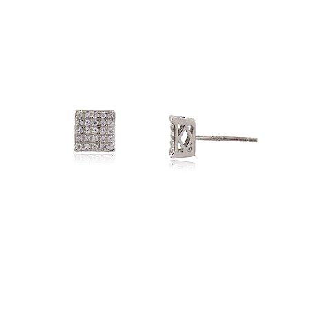 Brinco Prata 925 Quadrado Pequeno Cravejado com Zircônias