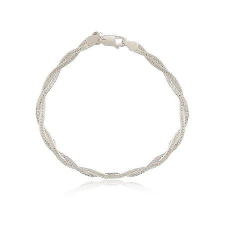Pulseira Prata 925 Trançada Fio Diamantado