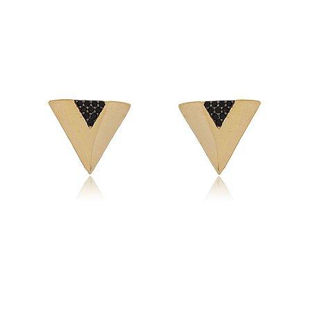 Brinco Folheado Triângulo Cravejado com Ônix