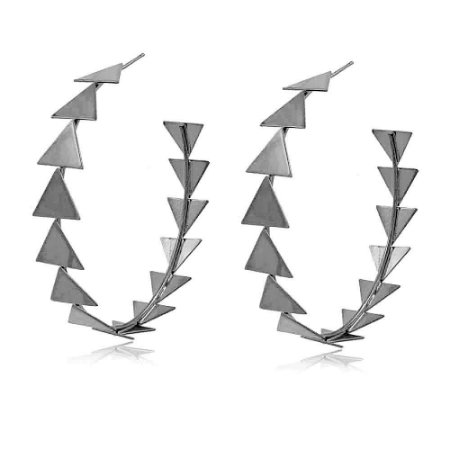 Brinco Argola Ródio Negro Toda de Triângulos