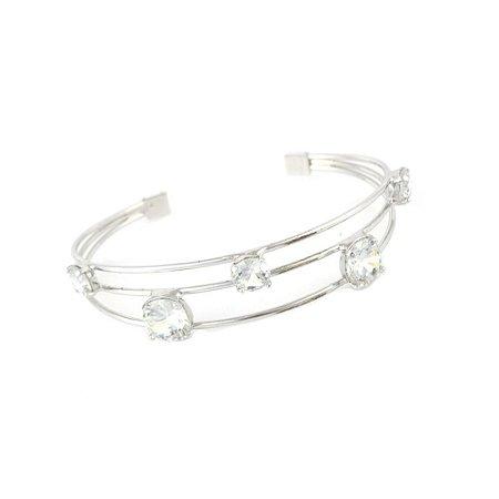 Pulseira Bracelete Três Fios Ródio Branco com Ponto de Luz