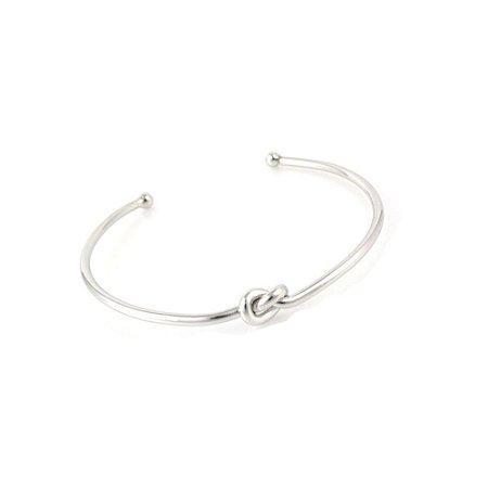 Pulseira Bracelete Ródio Branco Nó