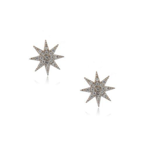 Brinco Folheado Estrela 8 Pontas Médio com Zircônia
