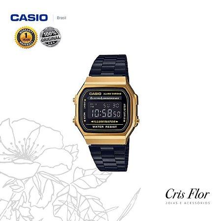 Relógio Casio Preto com Detalhe Dourados na Caixa A168WEGB-1BDF