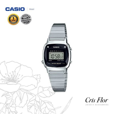 Relógio Casio Mini Prata Fundo Preto Diamond LA670WAD-1DF