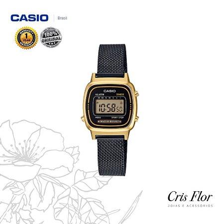 Relógio Casio Mini Preto com Detalhes Dourado na Caixa LA670WEMB-1DF