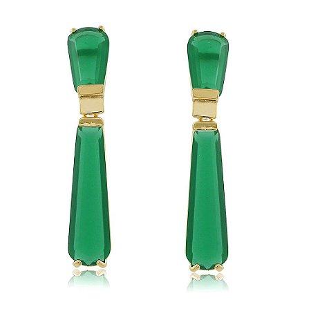 Brinco Folheado Pendulo Verde Esmeralda