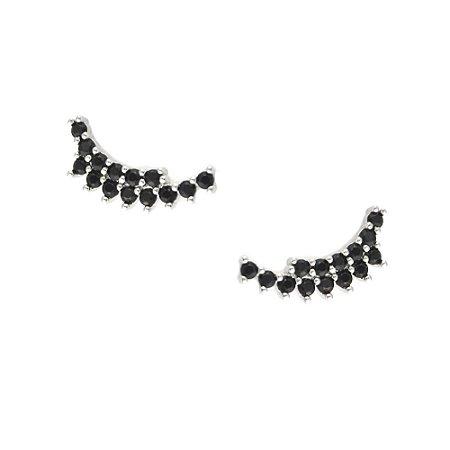 Brinco Ródio Branco Ear Cuff Dois Fios Com Zircônias Negras