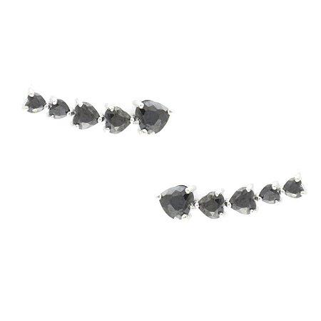 Brinco Ródio Branco Ear Cuff Coração com Pedra Negra