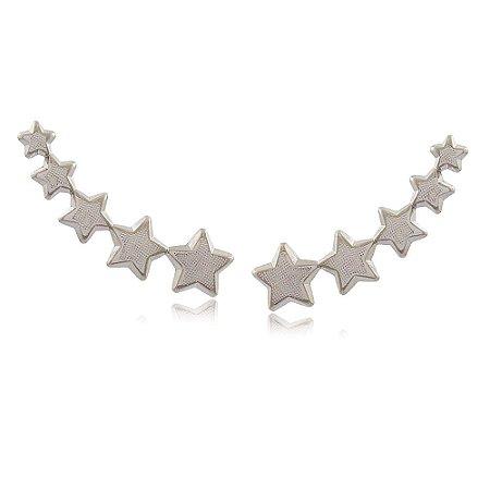 Brinco Ródio Branco Ear Cuff Cinco Estrelas