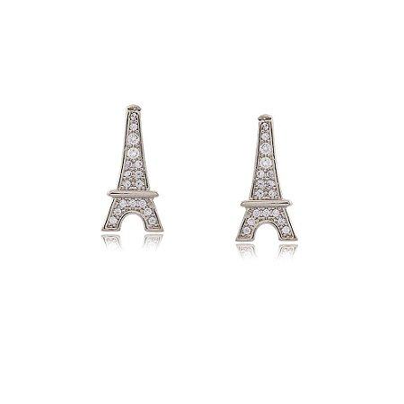 Brinco Ródio Branco Torre Eiffel com Zircônias