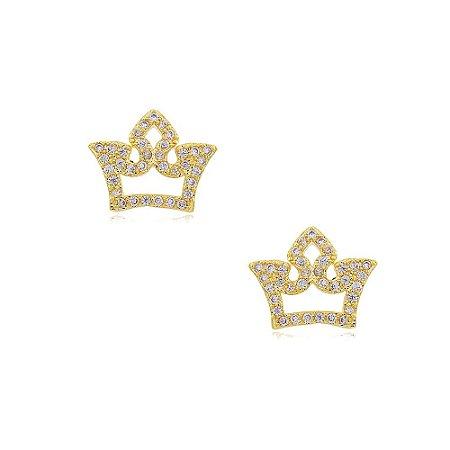 Brinco Folheado Coroa Vazada Cravejada Com Zircônias