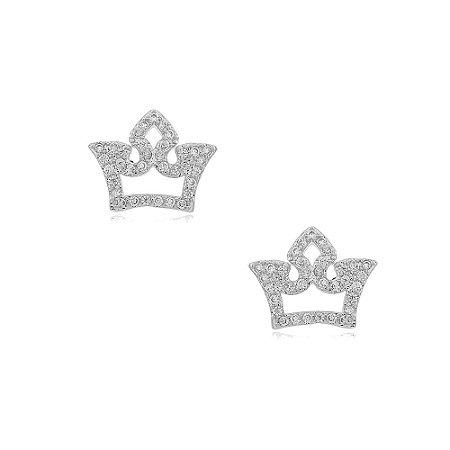Brinco Ródio Branco Coroa Vazada Cravejada com Zircônias