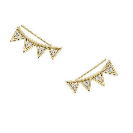 Brinco Folheado Ear Cuff Triângulos Invertidos Cravejados com Zircônias