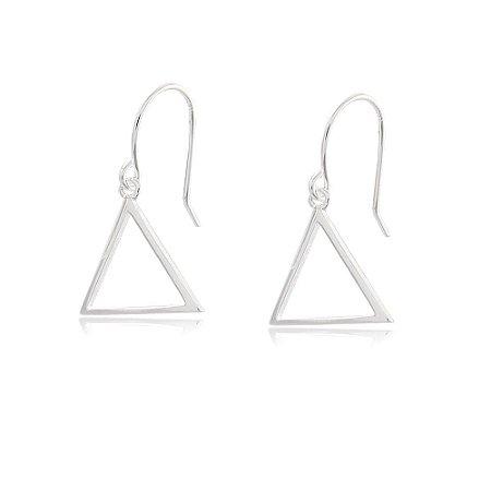 Brinco Prata 925 Triângulo Vazado