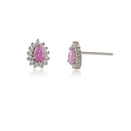 Brinco Prata 925 Gota com Pedra Natural Fusion Rosa e Zircônia