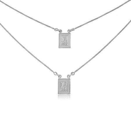 Colar Escapulário de Prata 925 com Borda Texturizada Nossa Senhora E Sagrado Coração de Jesus