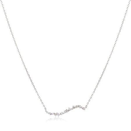 Colar Prata 925 Barra Curvada com Pontos de Luz e Navetes de Zircônia