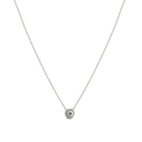 Colar Prata 925 Olho Grego de Madrepérola com Borda Cravejada de Zircônias