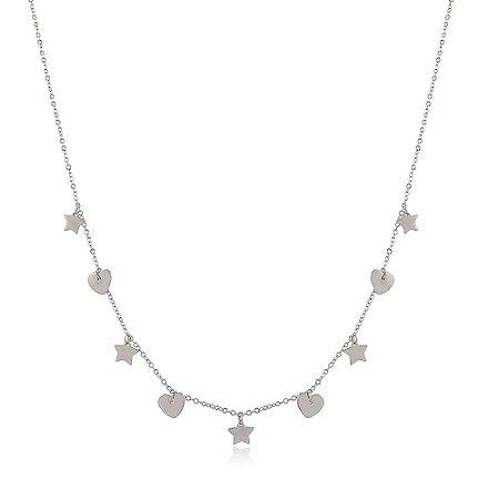 Colar Prata 925 Estrela e Coração