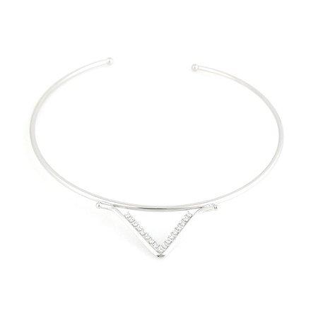 Colar Gargantilha Ródio Branco Triângulo Invertido Vazado com Zircônia