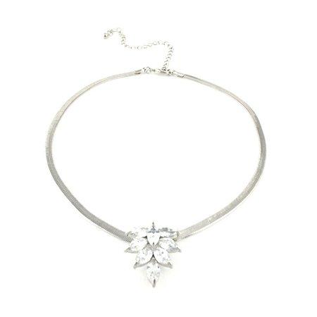 Colar Choker Ródio Branco com Fio Diamantado e Pingente com Zircônia