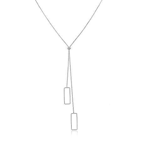 Colar Ródio Branco Gravatinha Retângulo Vazado