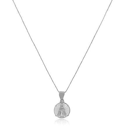 Colar Ródio Branco Medalha Nossa Senhora Aparecida