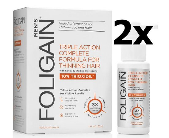 2X Foligain Trioxidil 10% + Bloqueador de DHT (2 FRASCOS)
