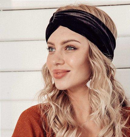 Turbante Headband Tiara De Veludo Transpassado Preto