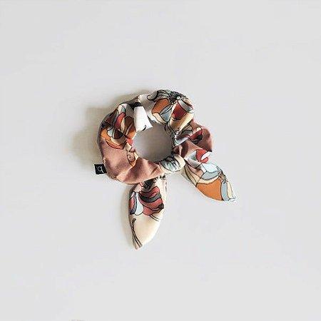 Scrunchie Amarrador De Cabelo De Tecido Floral com Laço
