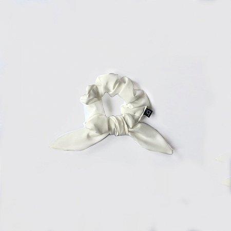 Scrunchie Amarrador De Cabelo De Tecido Branco Com Laço